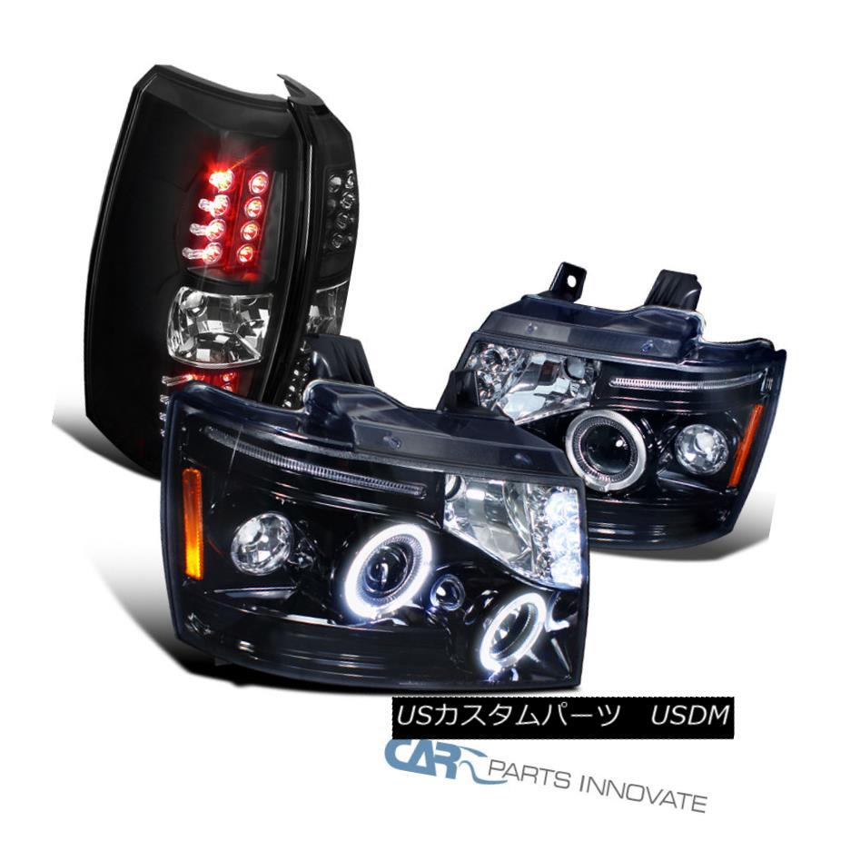 テールライト 07-12 Chevy Avalanche Smoke LED Halo Projector Headlights+Black LED Tail Lights 07-12 Chevy Avalanche Smoke LEDハロープロジェクターヘッドライト+ Bla ck LEDテールライト