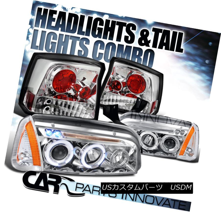 テールライト Chrome 06-08 Charger Halo LED Projector Headlights+Corner Lamps+Tail Lights Chrome 06-08充電器Halo LEDプロジェクターヘッドライト+ Cor nerランプ+テールライト
