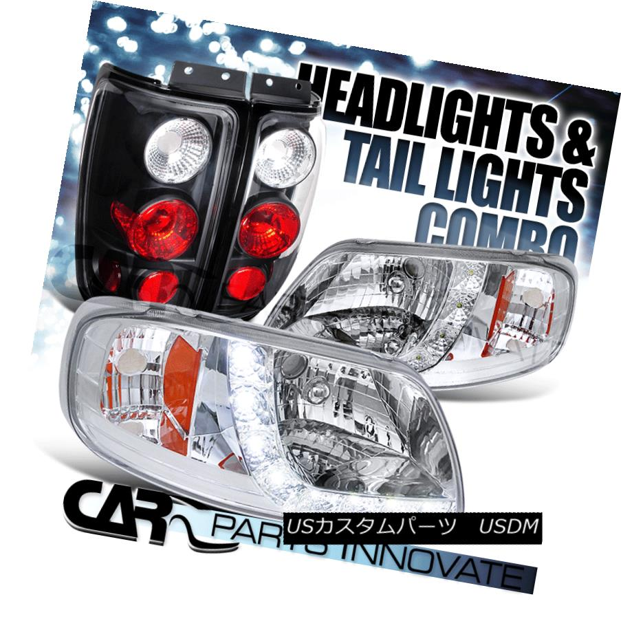 テールライト 97-02 Ford Expedition Euro SMD LED DRL Chrome Headlights+Black Tail Lamp 97-02 Ford ExpeditionユーロSMD LED DRLクロームヘッドライト+ Bla ckテールランプ
