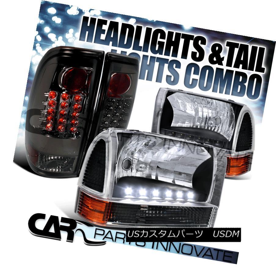 テールライト 99-04 F250/350/450 Black SMD DRL Headlights+Corner Lamps+Smoke LED Tail Lights 99-04 F250 / 350/450ブラックSMD DRLヘッドライト+コルクnerランプ+スモークLEDテールライト