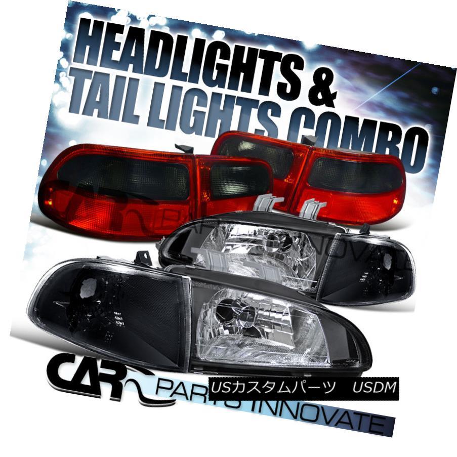 テールライト For 92-95 Honda Civic 3Dr HB Black Headlights+Corner Lamps+Red Smoke Tail Light 92-95ホンダシビック3Dr HBブラックヘッドライト+ Cor nerランプ+赤煙テールライト