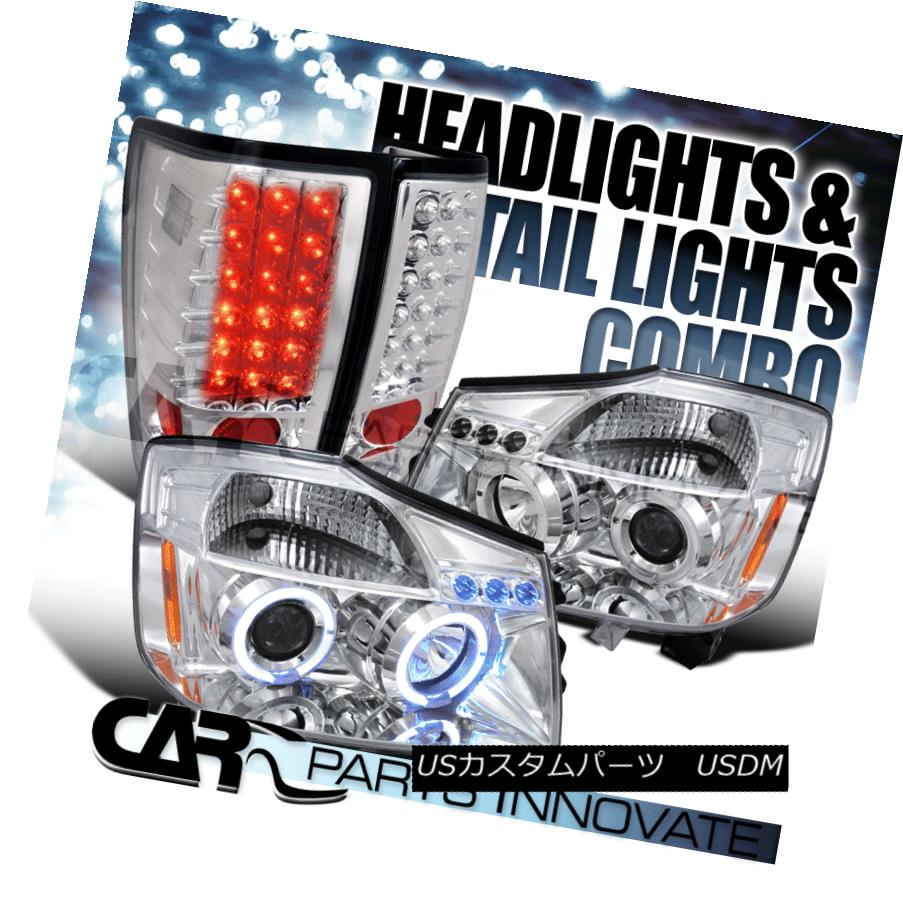 テールライト For 2004-2013 Nissan Titan Chrome Halo LED Projector Headlights+LED Tail Lamps 2004-2013 Nissan Titan Chrome Halo LEDプロジェクターヘッドライト+ LEDテールランプ