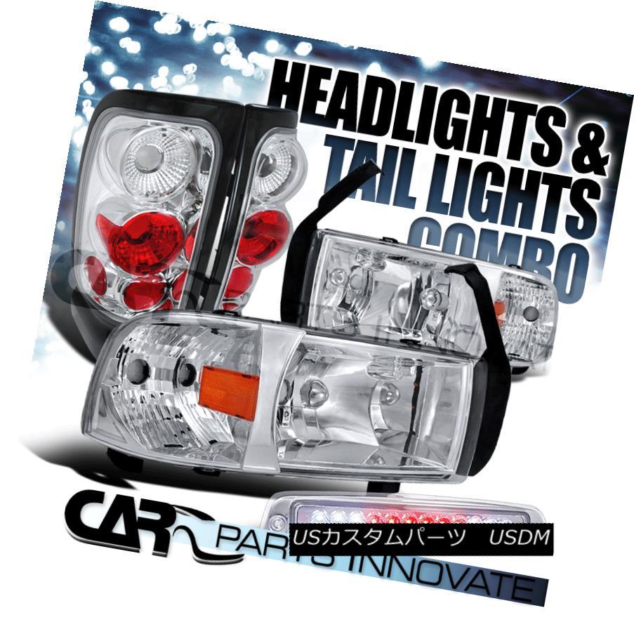 テールライト 94-01 Ram Chrome Crystal Headlights+Tail Lights+Clear LED 3rd Brake Lamp 94-01ラムクロームクリスタルヘッドライト+タイ lライト+クリアLED第3ブレーキランプ