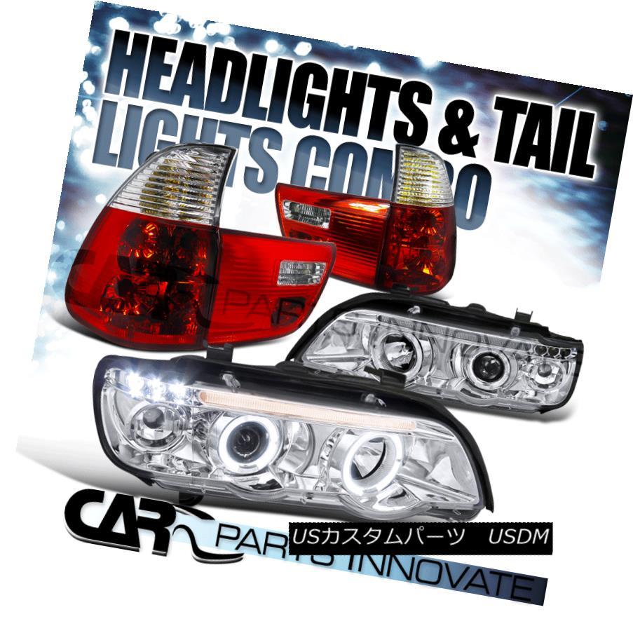 テールライト 01-03 BMW E53 X5 Dual Halo LED Chrome Projector Head Lights+Red Clear Tail Lamp 01-03 BMW E53 X5デュアルHalo LEDクロームプロジェクターヘッドライト+レッドクリアテールランプ