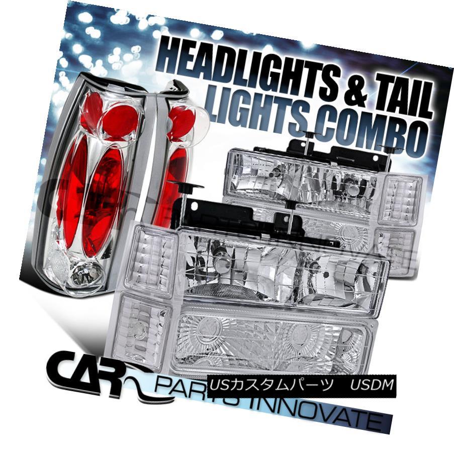テールライト 94-98 Chevy C10 C/K 1500 2500 Clear Headlights+Bumper Corner+Chrome Tail Lamp 94-98 Chevy C10 C / K 1500 2500クリアヘッドライト+ブール /コーナー+クロームテールランプ