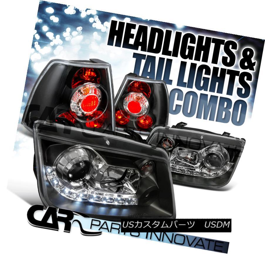テールライト For 99-05 VW Jetta Bora Mk4 Sedan Black LED DRL Projector Headlight+Tail Lamps 99-05 VWジェッタボラMk4セダンブラックLED DRLプロジェクターヘッドライト+テールランプ用