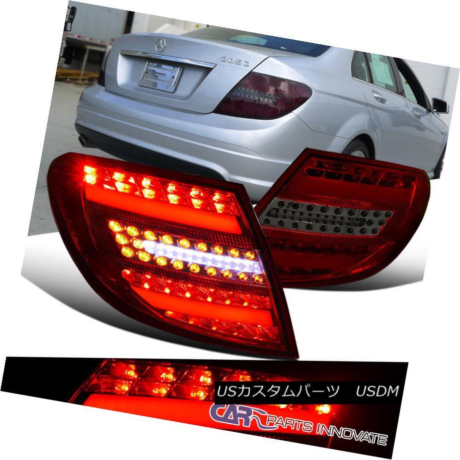 テールライト 08-11 Benz W204 C-Class Replacement Smoke LED Tail Brake Lamps Parking Lights 08-11ベンツW204 Cクラスの交換煙LEDテールブレーキランプの駐車ライト