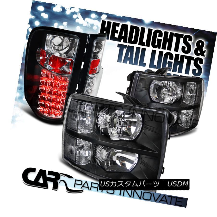 テールライト 07-14 Chevy Silverado 1500 2500 3500 Headlights Black+LED Tail Brake Lamps Black 07-14 Chevy Silverado 1500 2500 3500ヘッドライトブラック+ LEDテールブレーキランプブラック