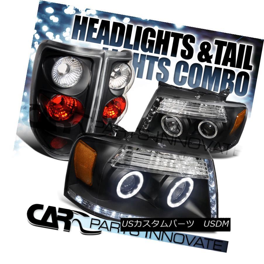 テールライト 04-08 F150 Black Halo R8 LED Strip DRL Projector Headlights+Tail Brake Lamps 04-08 F150ブラックHalo R8 LEDストリップDRLプロジェクターヘッドライト+タイ lブレーキランプ