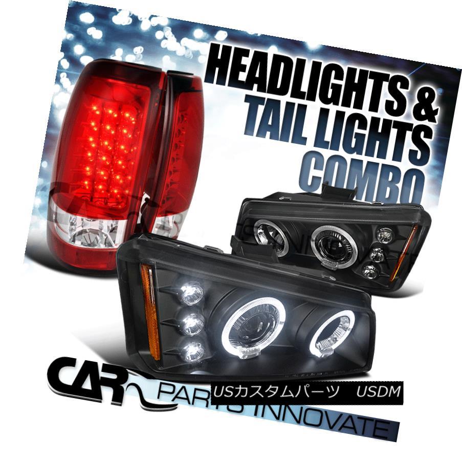 テールライト 03-06 Silverado 1500 2500 Halo Projector Headlight Black+LED Tail Brake Lamp Red 03-06 Silverado 1500 2500ハロープロジェクターヘッドライトブラック+ LEDテールブレーキランプレッド