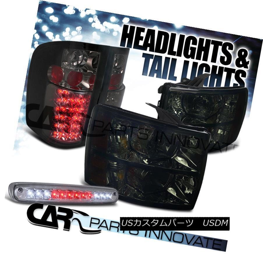 車用品 バイク用品 >> パーツ ライト ランプ テールライト 限定Special Price 07-12 Chevy Silveradoヘッドライトスモーク+ティンテッドLED第3ブレーキ+テールランプ Brake+Tail Headlights Lamps Silverado LED Smoke+Tinted 2020モデル 3rd