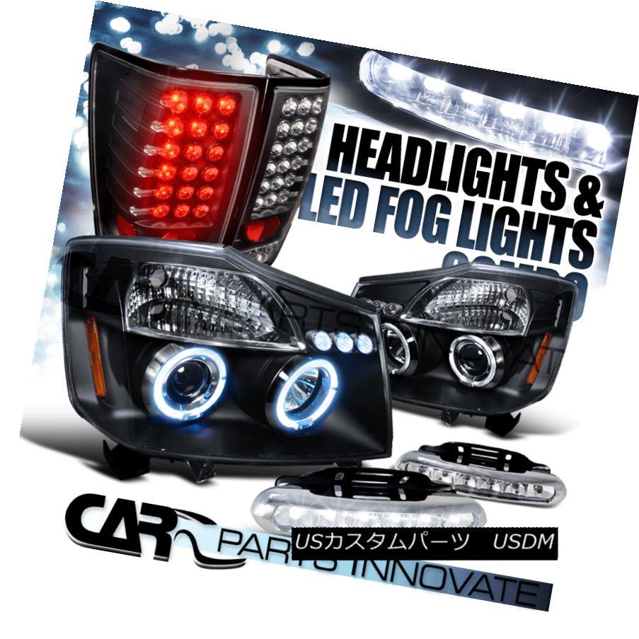 テールライト For Nissan 04-13 Titan Black Halo Projector Headlights+Tail Lamps+6-LED Fog Lamp 日産04-13タイタンブラックハロープロジェクターヘッドライト+タイ lランプ+ 6-LEDフォグランプ