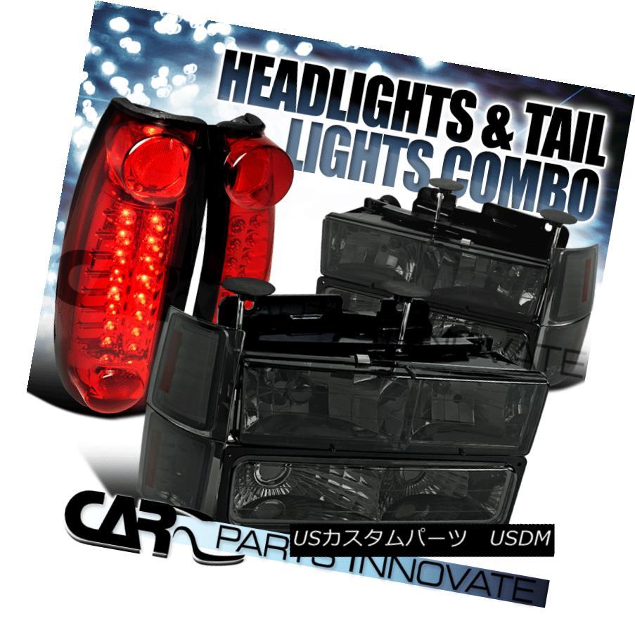 テールライト 94-98 Chevy C/K 1500 Smoke Headlights+Bumper Corner Lamps+Red LED Tail Lamps 94-98 Chevy C / K 1500スモークヘッドライト+ Bum /コーナーランプ+レッドLEDテールランプ