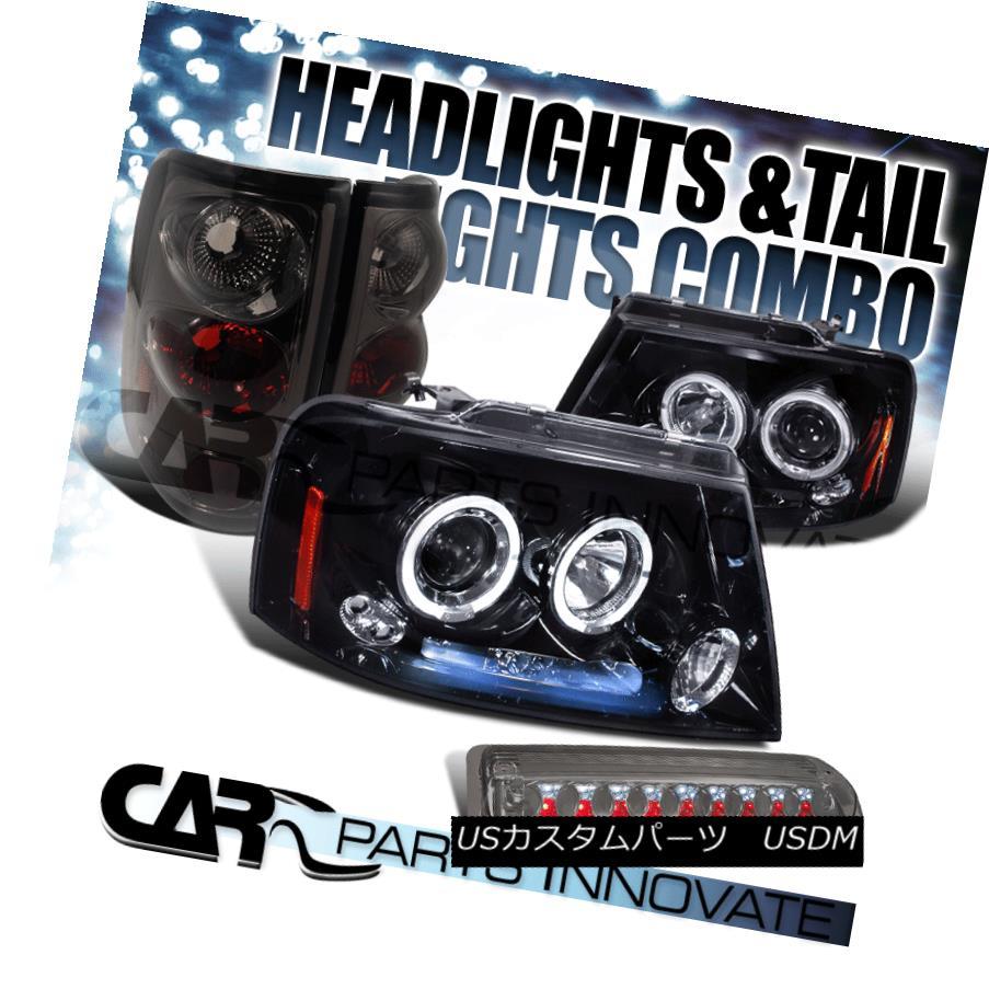 テールライト 04-08 F150 Piano Black Halo Projector Headlight+Tint Rear Lamp+LED 3rd Tail Lamp 04-08 F150ピアノブラックハロープロジェクターヘッドライト+ティントリアライト+ LED第3テールランプ