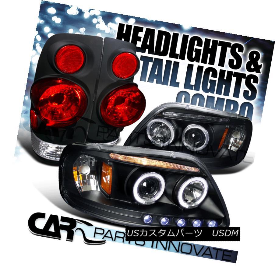 テールライト Black Ford 97-03 F150 Halo LED Projecot Headlights+3D Altezza Tail Lamps ブラックフォード97-03 F150ハローLEDプロジェクターヘッドライト+ 3D Altezzaテールランプ