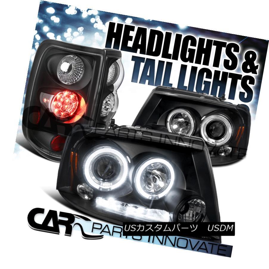 テールライト 04-08 Ford F150 Black LED Halo Projector Headlights+LED Tail Brake Lights 04-08 Ford F150ブラックLEDハロープロジェクターヘッドライト+ LEDテールブレーキライト