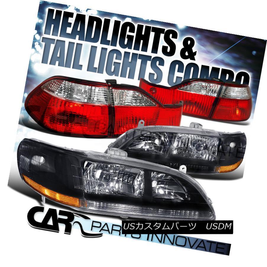 テールライト For 1998-00 Honda Accord 4Dr Sedan Black Crystal Headlights+Red Clear Tail Lamps 1998-00ホンダアコード4Drセダンブラッククリスタルヘッドライト+レッドクリアテールランプ