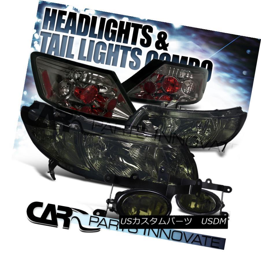 テールライト For Honda 06-08 Civic 2Dr Coupe Crystal Smoke Headlight+Tint Fog Lamp+Tail Light ホンダ06-08シビック2Drクーペクリスタルスモークヘッドライト+ティントフォグランプ+テールライト
