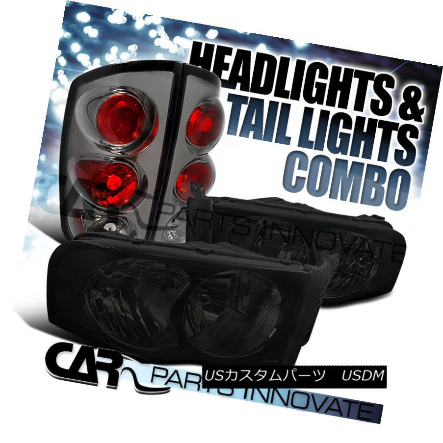 テールライト 02-05 Ram 1500/2500/3500 Smoke Crystal Headlights+Tinted Tail Brake Lamps 02-05 Ram 1500/2500/3500スモーククリスタルヘッドライト+錫テールブレーキランプ
