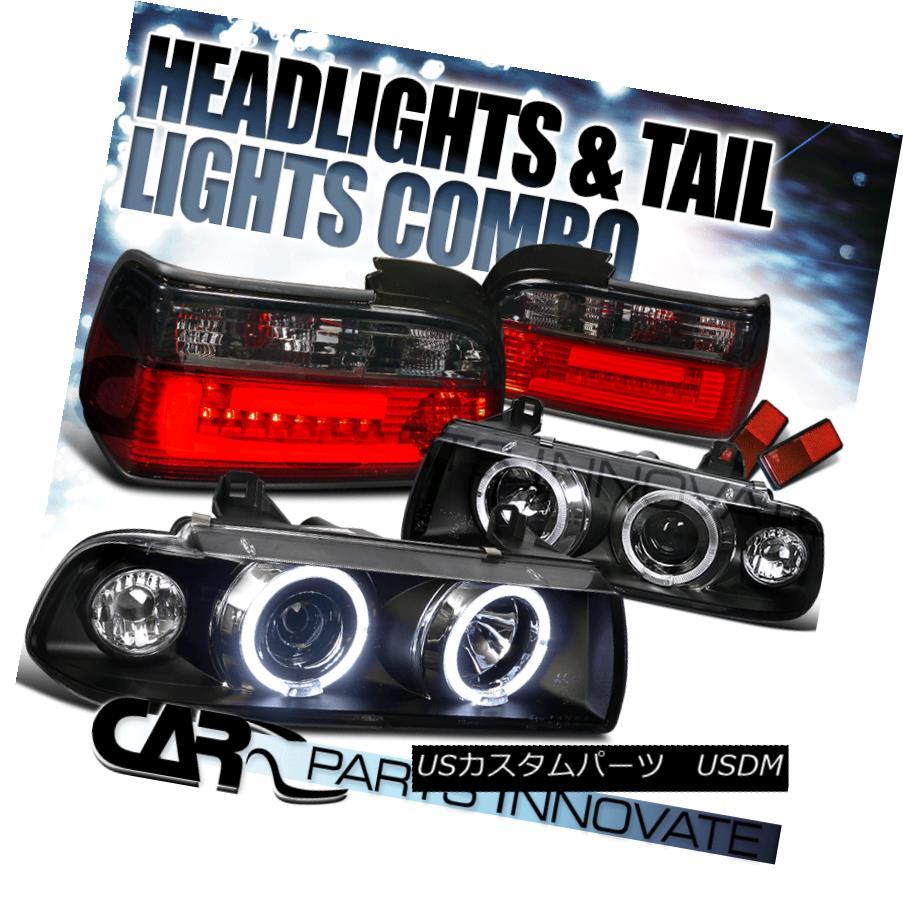 テールライト 92-98 E36 318is 325is 2Dr Coupe Halo Projector Headlights+Smoke LED Tail Lamps 92-98 E36 318is 325is 2Drクーペハロープロジェクターヘッドライト+スモーキー ke LEDテールランプ