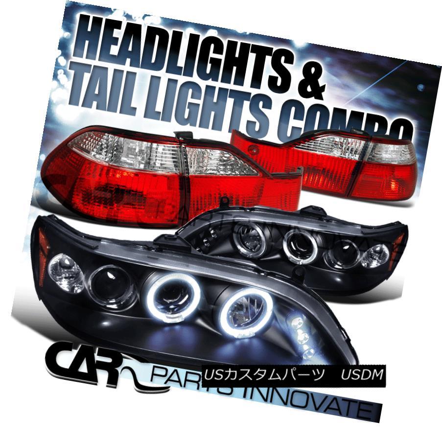 テールライト Fit 98-00 Accord 4Dr Black Halo LED Projector Headlight+Red Clear Tail Lamps フィット98-00アコード4DrブラックハローLEDプロジェクターヘッドライト+レッドクリアテールランプ