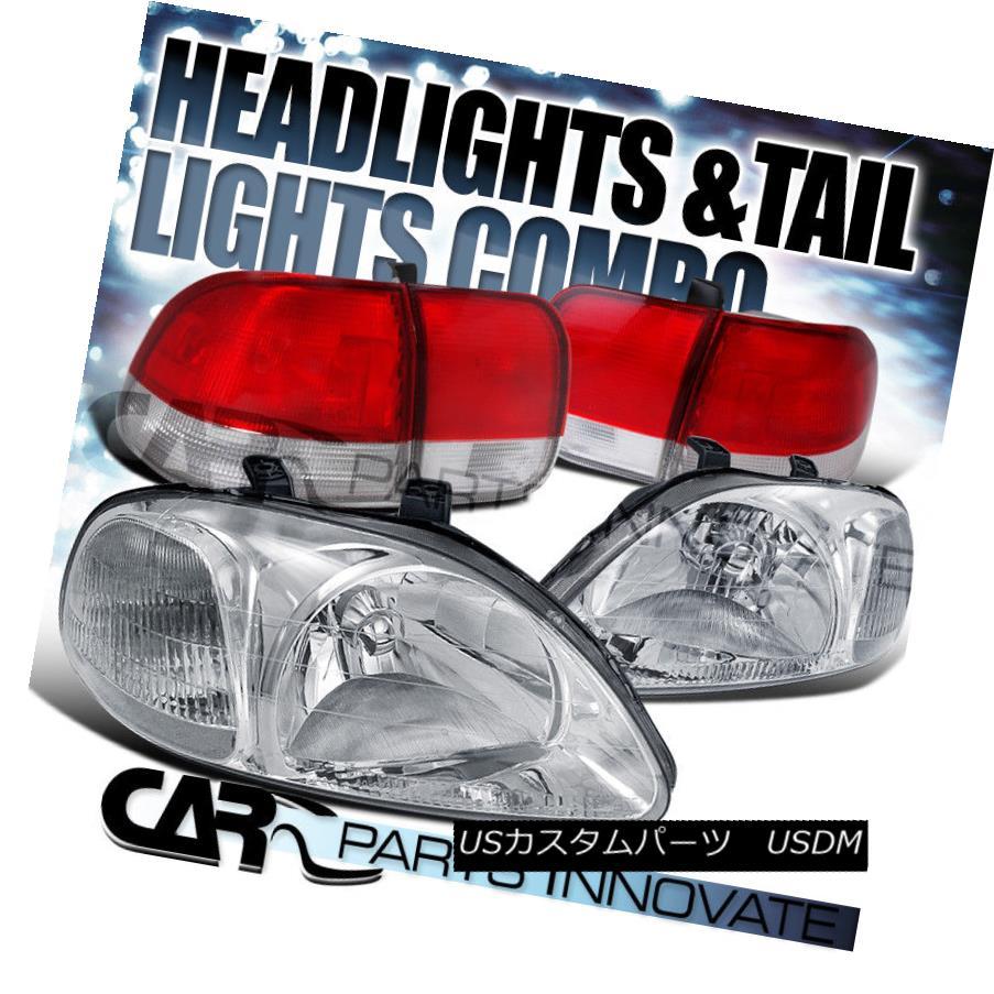テールライト For 96-98 Honda Civic 4Dr Sedan Chrome Crystal Head Lights+Red/Clear Tail Lamp 96-98 Honda Civic 4Drセダンクロームクリスタルヘッドライト+レッド/クレア arテールランプ