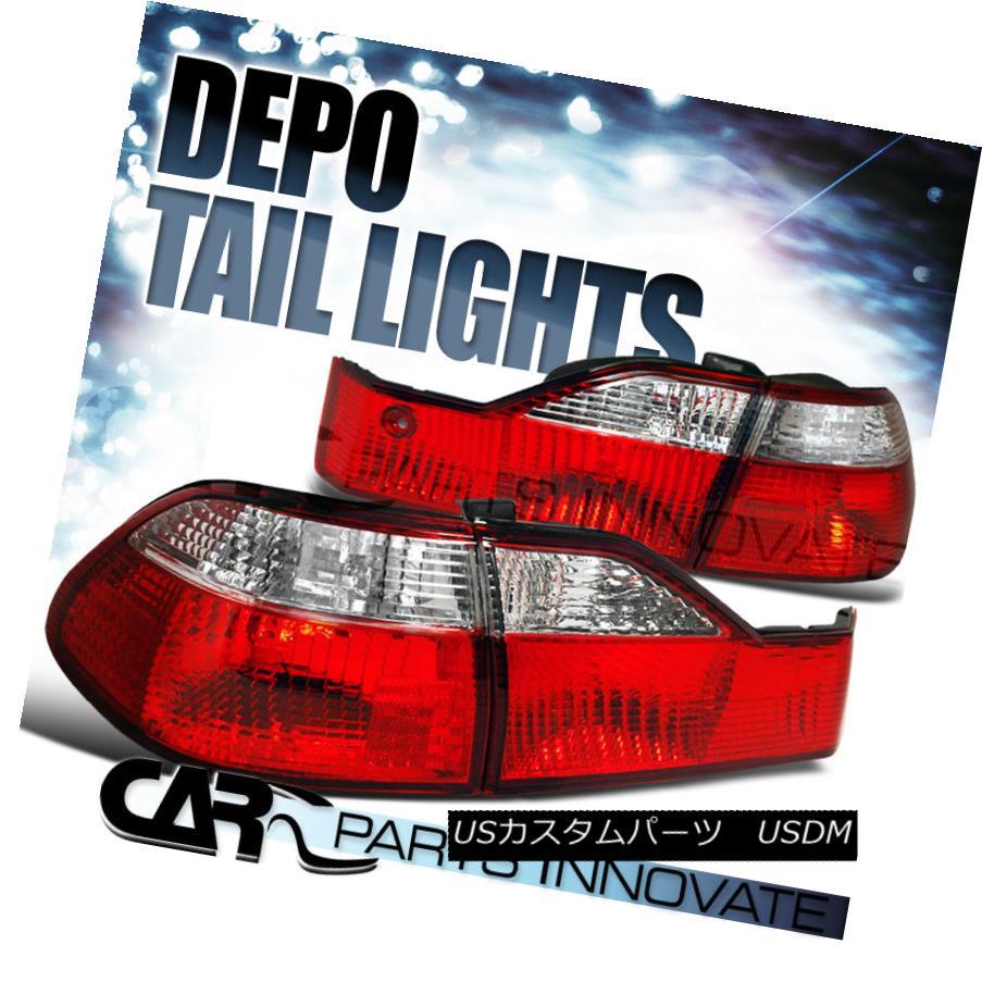 テールライト For Honda 98-00 Accord 4Dr Sedan Tail Lights Brake Stop Rear Lamp Red Clear ホンダ98-00アコード4Drセダンテールライトブレーキストップリアランプレッドクリア