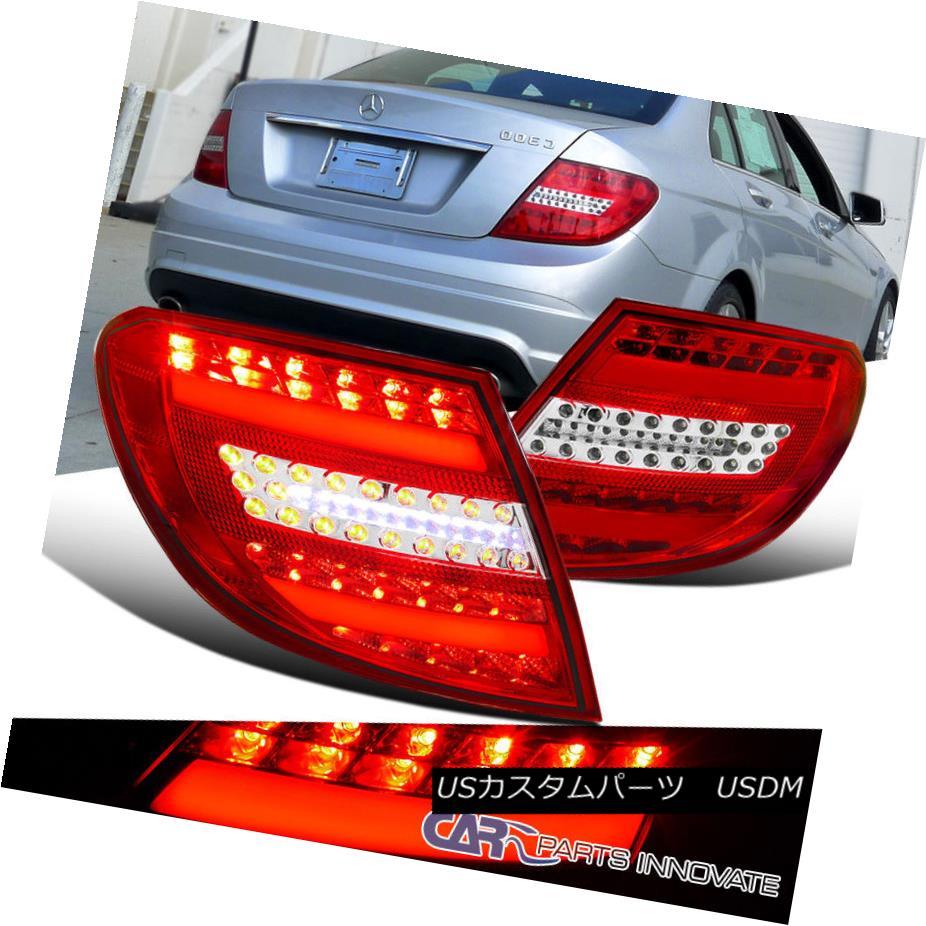 テールライト 08-11 Benz C-Class W204 Red/Clear LED Brake Lamps Parking Tail Lights Left+Right 08-11ベンツCクラスW204レッド/クリアLEDブレーキランプテールライト左/右点灯