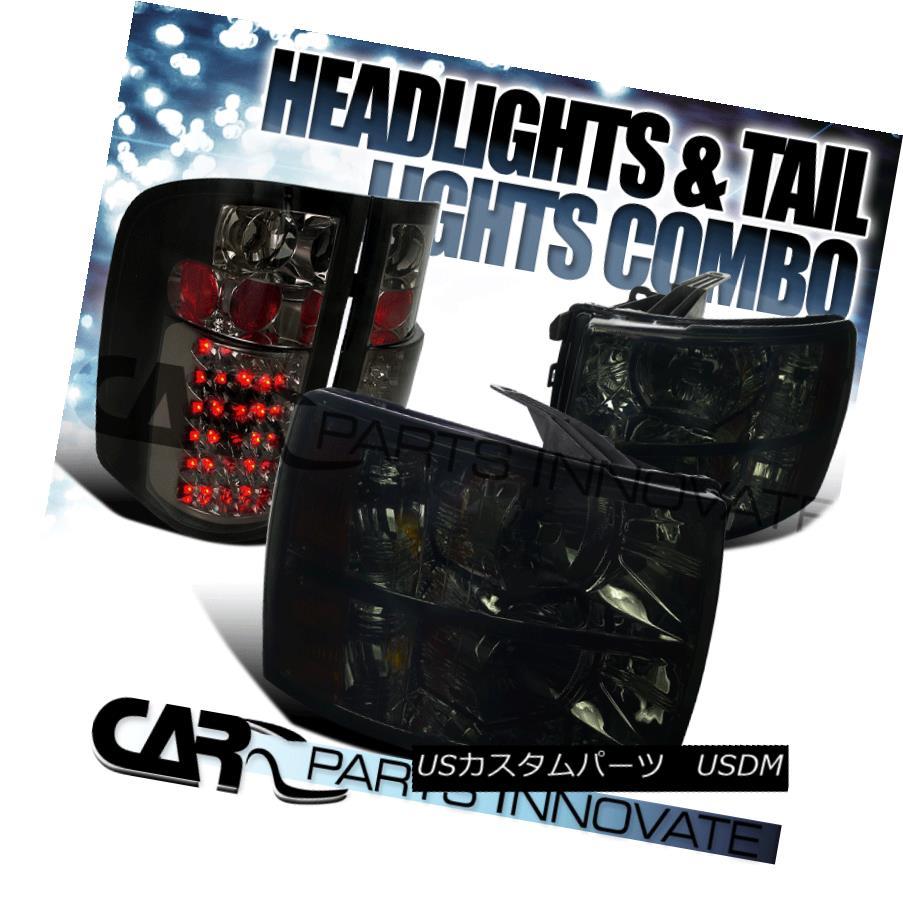 テールライト 07-14 Silverado 1500 2500 3500 Headlights Smoke+Tinted LED Tail Brake Lamps 07-14 Silverado 1500 2500 3500ヘッドライトスモーク+ティンテッドLEDテールブレーキランプ