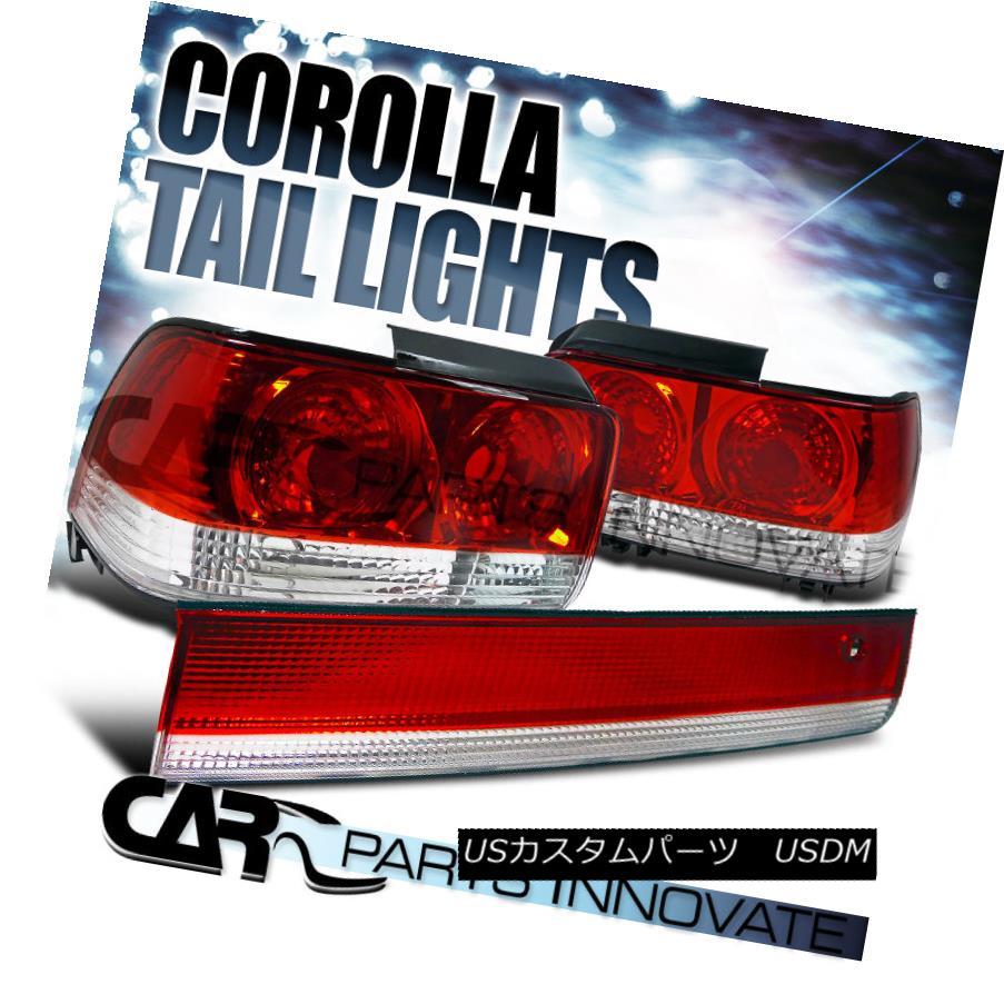 テールライト Toyota 93-97 Corolla Tail Lights Rear Brake Lamp+Center Trunk 3PC Red Clear トヨタカローラ93-97テールライトリアブレーキランプ+センタートランク3PCレッドクリア