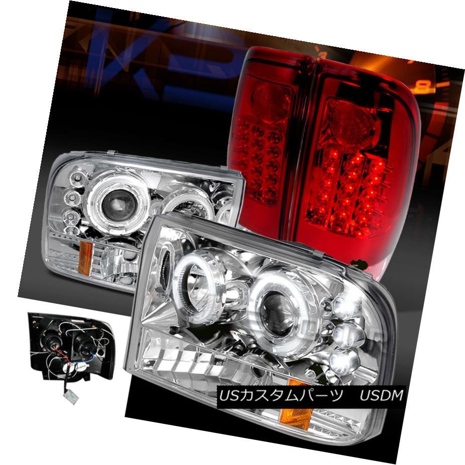テールライト 99-04 F250/350 Super Duty Chrome Halo Projector Headlights+Red LED Tail Lamps 99-04 F250 / 350スーパーデューティークロームハロープロジェクターヘッドライト+レッドLEDテールランプ