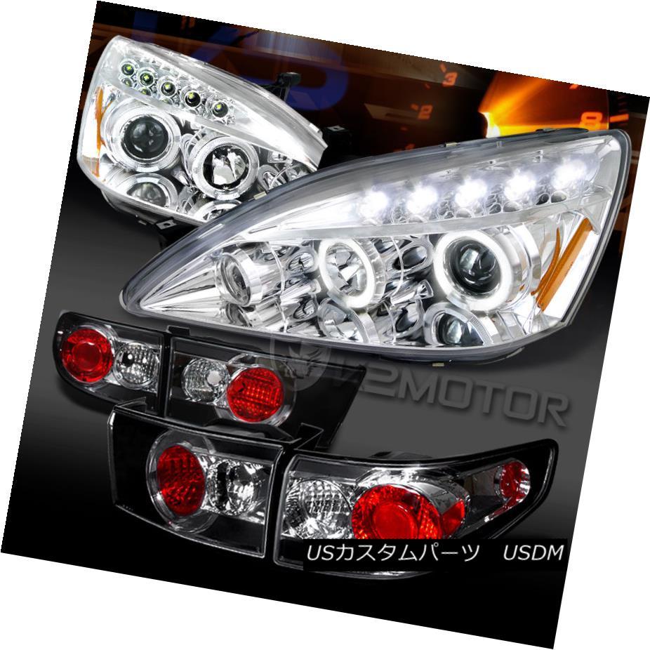 テールライト Fit 03-05 Accord 4DR Chrome Halo LED Projector Headlights+Black Tail Lamps フィット03-05 Accord 4DR Chrome Halo LEDプロジェクターヘッドライト+ Bla ckテールランプ