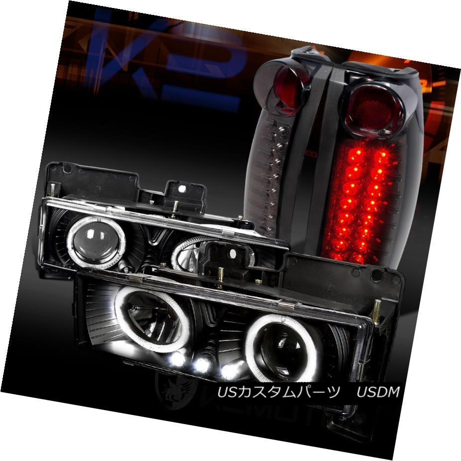 テールライト 88-98 Chevy C/K Pickup Black Halo LED Projector Headlights+Smoke LED Tail Lamps 88-98 Chevy C / KピックアップブラックハローLEDプロジェクターヘッドライト+スモール ke LEDテールランプ