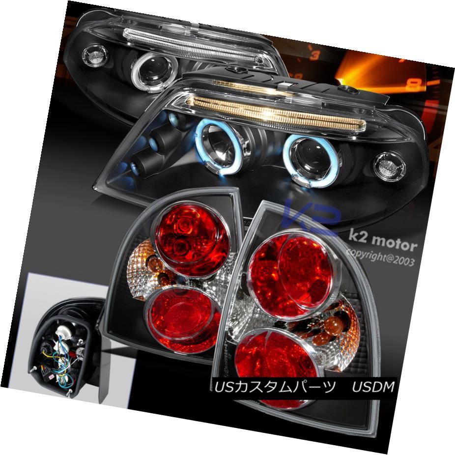 テールライト For 01-05 VW Passat 4Dr Black Halo LED Projector Headlight+Tail Lamps 4pc 01-05 VW Passat 4DrブラックハローLEDプロジェクターヘッドライト+テールランプ4pc
