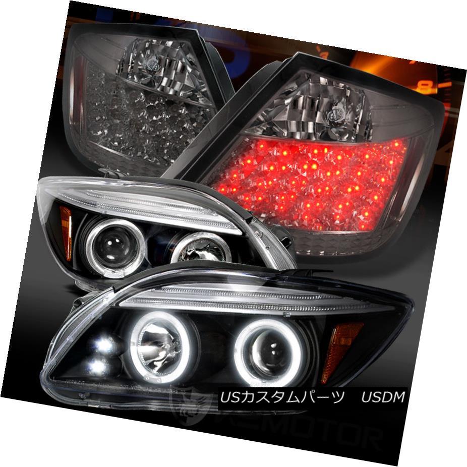 テールライト 05-10 Scion tC Black Halo Projector Headlights+Smoke LED Tail Lamps 05-10 Scion tCブラックハロープロジェクターヘッドライト+スモーキー ke LEDテールランプ