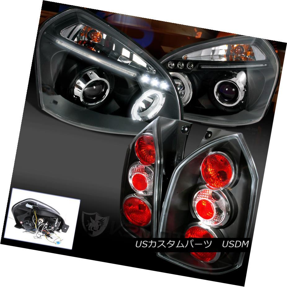テールライト FOR 2005-2009 TUCSON BLACK LED HALO PROJECTOR HEADLIGHT+REAR TAIL LAMP TUCSON BLACK LEDハロープロジェクターヘッドライト+リアテールランプ用