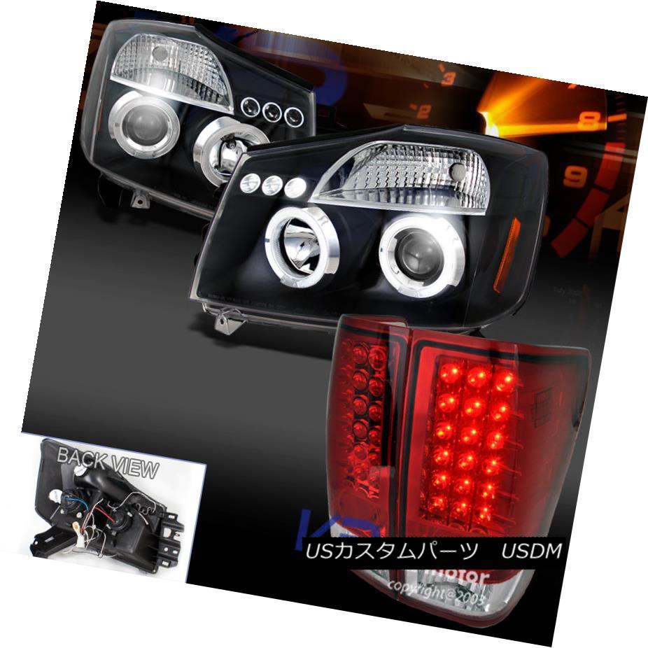 テールライト Black Halo Projector Headlights+Red LED Tail Lamp For Nissan 04-13 Titan ブラックハロープロジェクターヘッドライト+日産用赤色LEDテールランプ04-13タイタン