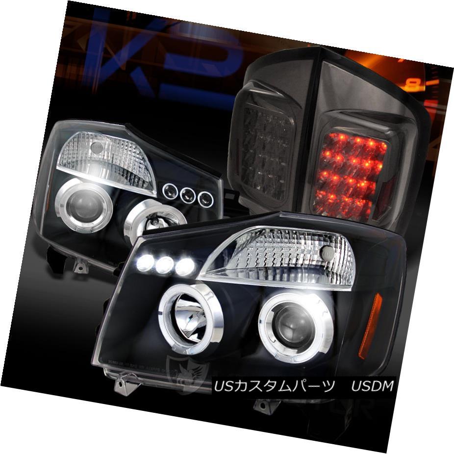 テールライト For 05-07 Armada Black Halo LED Projector Headlights+Smoke LED Tail Lamps 05-07 Armada Black Halo LEDプロジェクターヘッドライト+ Smo ke LEDテールランプ