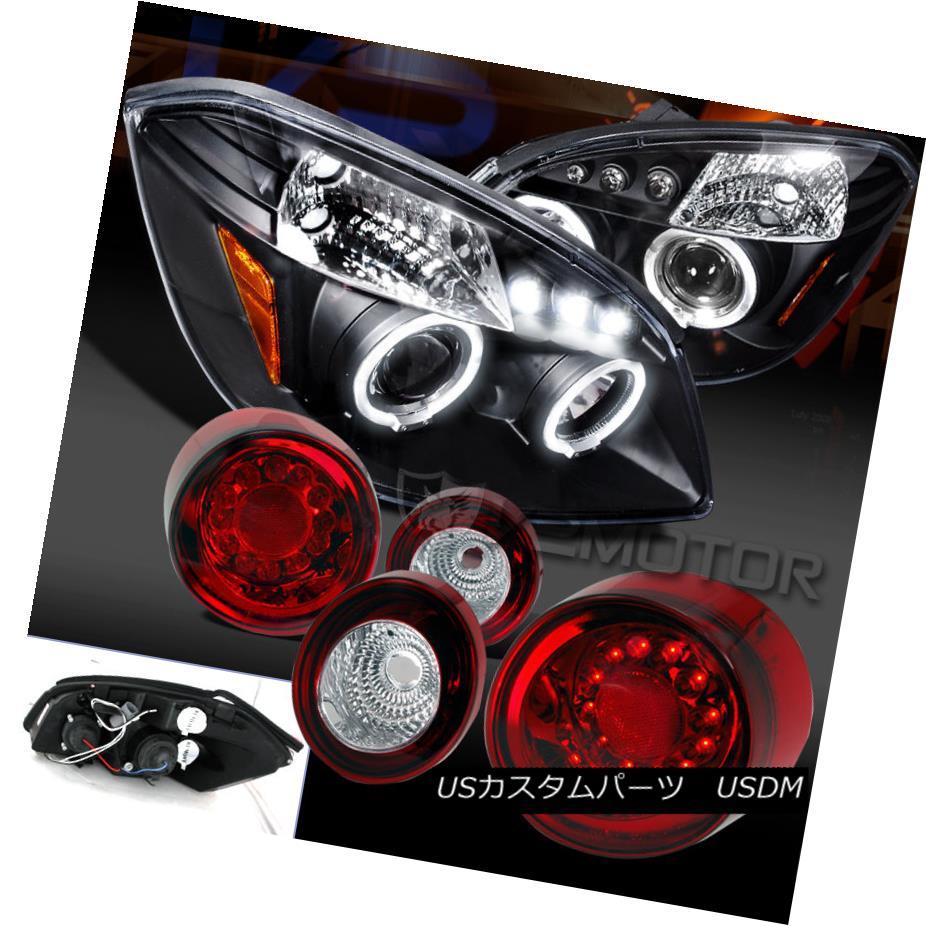 テールライト 05-10 Cobalt Coupe Black Halo Projector Head Lights+Red LED Tail Brake Lamps 05-10コバルトクーペブラックハロープロジェクターヘッドライト+レッドLEDテールブレーキランプ