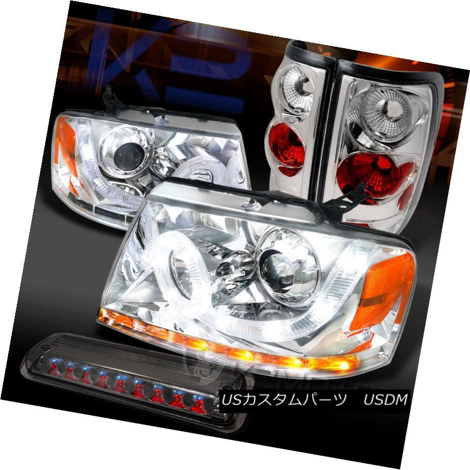 テールライト 04-08 F150 Styleside Chrome LED Projector Headlights+Tail+Smoke 3rd Brake Light 04-08 F150 Styleside Chrome LEDプロジェクターヘッドライト+タイ l +第3ブレーキ灯