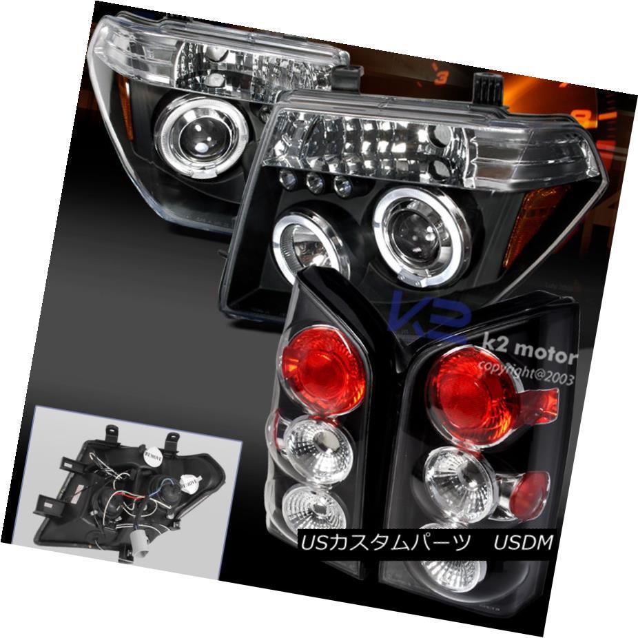 テールライト For 05-07 Pathfinder Dual Halo LED Projector Black Headlights+Tail Brake Lamps 05-07パスファインダーデュアルハローLEDプロジェクターブラックヘッドライト+タイ lブレーキランプ