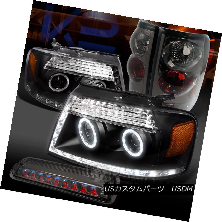 テールライト 04-08 F150 Black LED Halo Projector Headlights+Smoke Tail LED 3rd Brake Lamps 04-08 F150ブラックLEDハロープロジェクターヘッドライト+スモール keテールLED第3ブレーキランプ