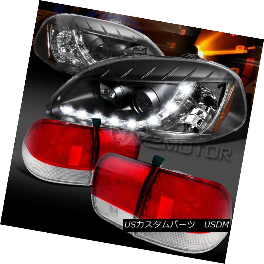 テールライト For 96-98 Civic Sedan Blk R8 LED DRL Projector Head lights+Red/Clear Tail Lamps 96-98 Civic Sedan Blk R8 LED DRLプロジェクターヘッドライト+レッド/クリーン arテールランプ