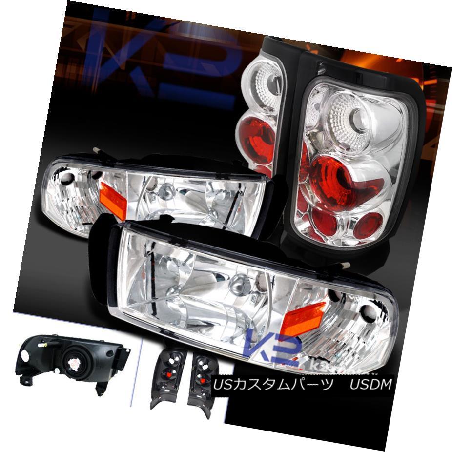 テールライト 94-01 Dodge Ram 1500 2500 3500 Chrome Headlights+Clear Rear Tail Lamps 94-01 Dodge Ram 1500 2500 3500クロームヘッドライト+ Cle arリアテールランプ