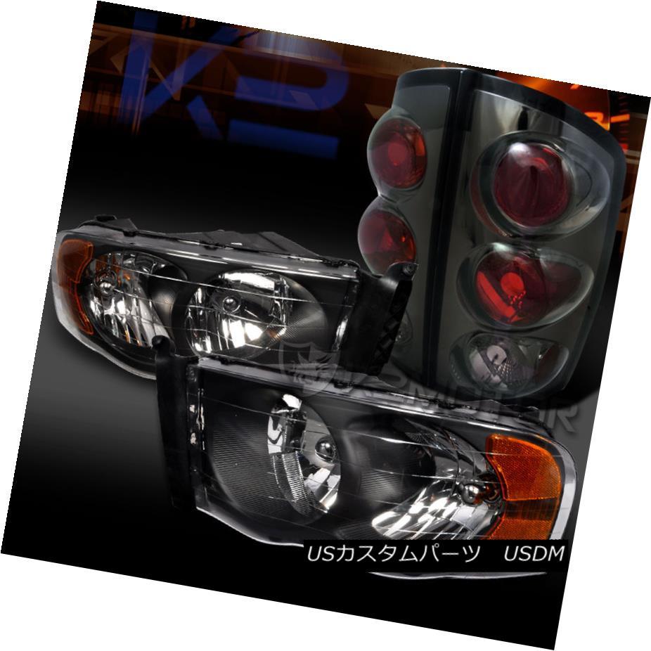 テールライト 02-05 Dodge Ram 1500/2500/3500 Black Diamond Headlights+Smoke Tail Lights Head 02-05 Dodge Ram 1500/2500/3500ブラックダイヤモンドヘッドライト+ Smo keテールライトヘッド