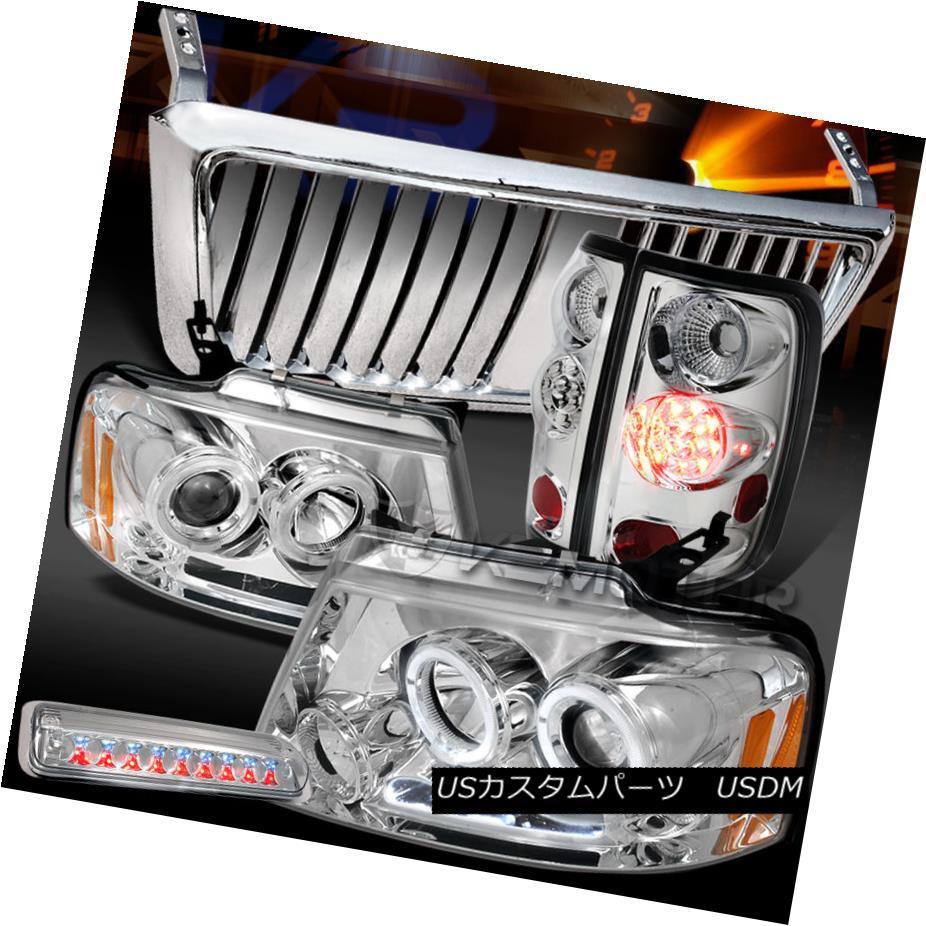 テールライト 04-08 F150 Chrome Halo DRL Headlights+Front Grille+LED Tail 3rd Stop Lamps 04-08 F150クロームハローDRLヘッドライト+ ntグリル+ LEDテール第3ストップランプ