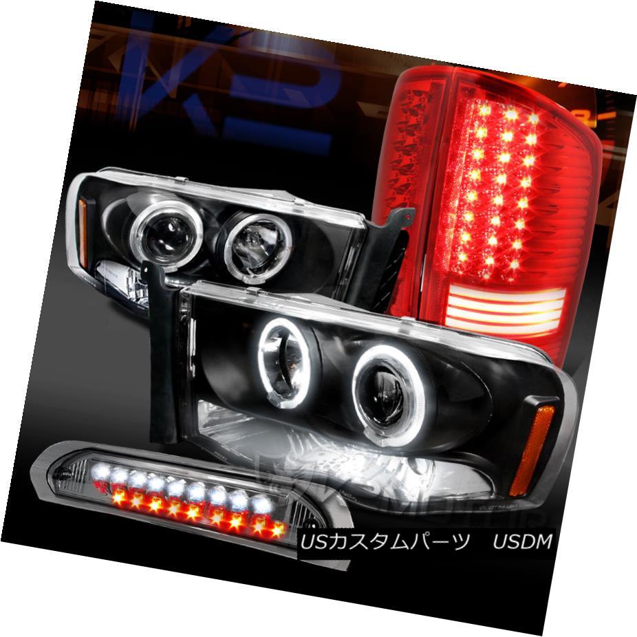 テールライト 02-05 Ram Black Halo Projector Headlights+Red LED Tail Smoke 3rd Brake Lights 02-05ラムブラックハロープロジェクターヘッドライト+レッドLEDテール煙第3ブレーキライト