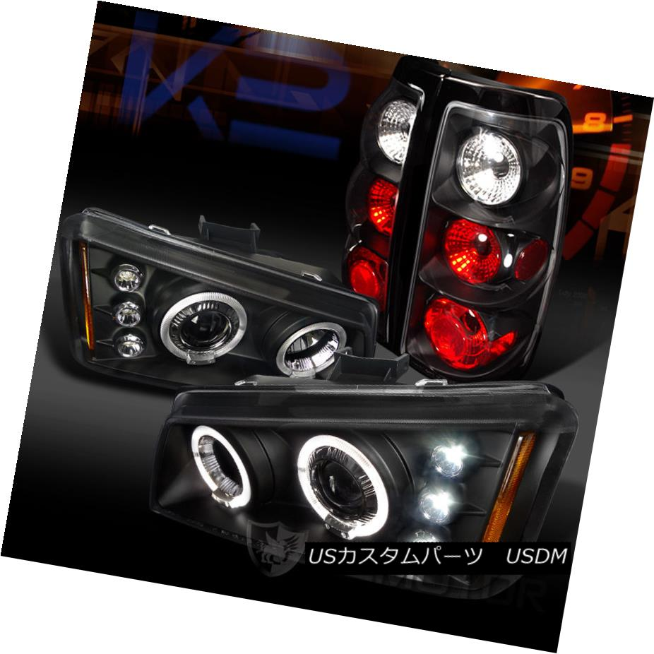 テールライト Chevy 03-06 Silverado 1500 Black Dual Halo Projector Headlights+Rear Tail Lamps Chevy 03-06 Silverado 1500 Blackデュアルハロープロジェクターヘッドライト+リア rテールランプ