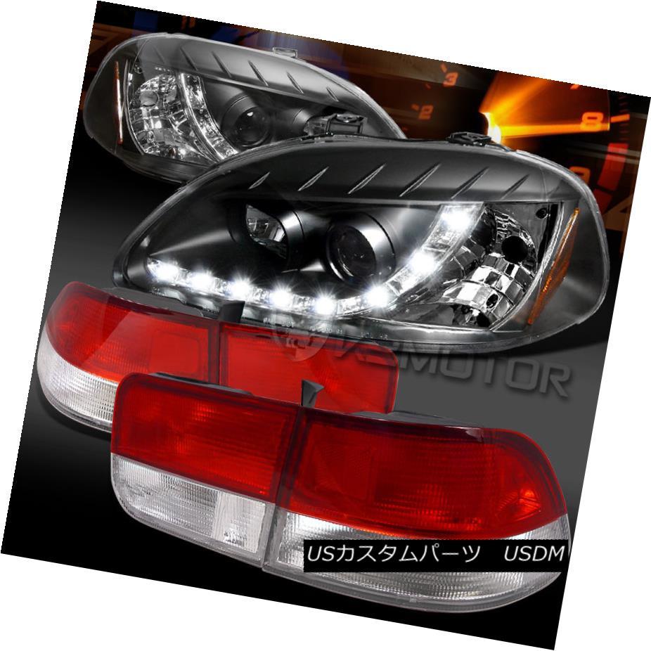 テールライト For 96-98 Civic 2DR Black R8 LED DRL Projector Headlights+Red/Clear Tail Lamps 96-98シビック2DRブラックR8 LED DRLプロジェクターヘッドライト+レッド /クリアテールランプ