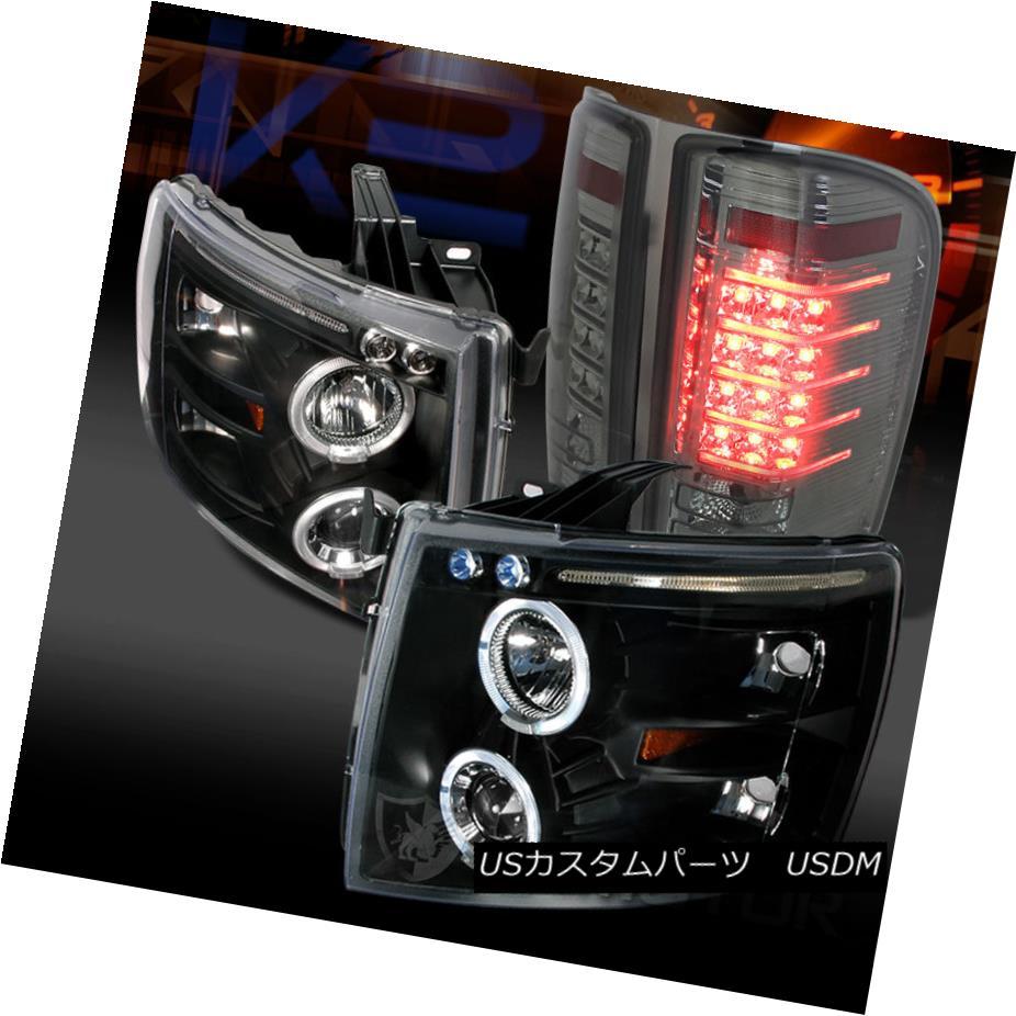テールライト 07-14 Silverado Black Dual Halo Projector Headlights+Smoke LED Tail Lamps 07-14 Silverado Blackデュアル・ハロー・プロジェクター・ヘッドライト+ Smo ke LEDテールランプ